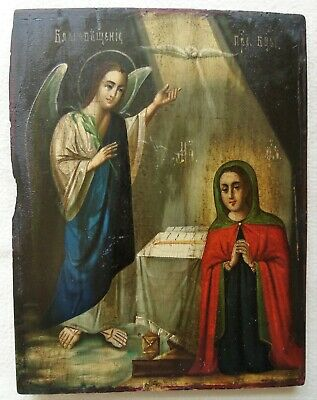 "Antique Russian Icon of ""Annunciation of the Blessed Virgin Mary"". 19th Century."