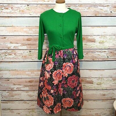 Vintage Handmade Quilted Floral Dress Fit And Flare Belted Waist Kelly Green