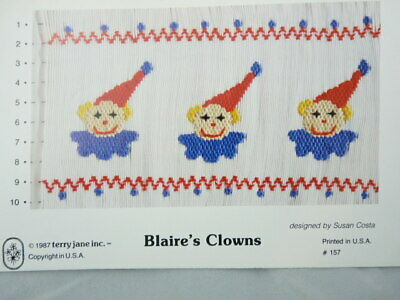 Smocking Plate Terry Jane Inc. Blaire's Clowns Susan Costa #157