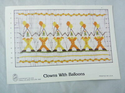Smocking Plate Mollie Jane Taylor Clowns with Balloons Heirloom Sewing