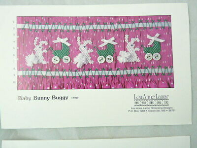 Smocking Plate  Lou Anne Lamar Anne Baby Bunny Buggy Heirloom Sewing