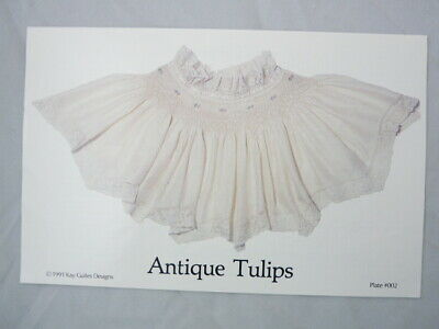 Smocking Plate Kay Guiles Antique Tulips Collar Heirloom Sewing