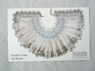 Smocking Plate Lou Anne Lamar Priscilla's Collar and Bonnet Heirloom Sewing