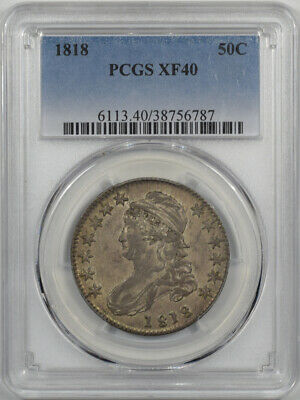 1818 Capped Bust Half Dollar Pcgs Xf-40 Original With Some Luster!