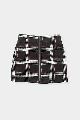 Womens Primark black white red plaid zip through skirt Size 6