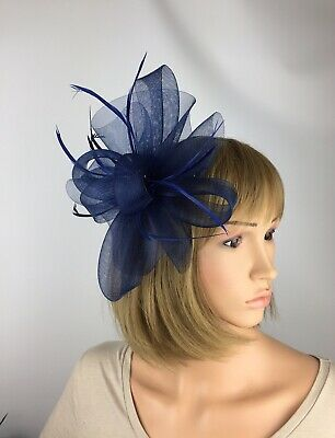 Navy Blue Fascinator Blue Bow Ladies Wedding Hatinator Mother Bride Ascot Races