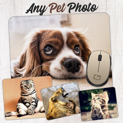 Personalised Your PET PHOTO Mouse Mat Pad Computer NON SLIP Gift Cat Dog Animal