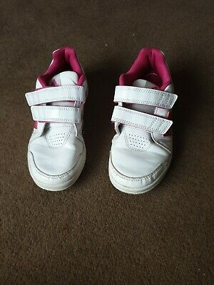 ADIDAS Girls Pink White Leather Velcro Non Marking Soles Trainers UK Infant 13