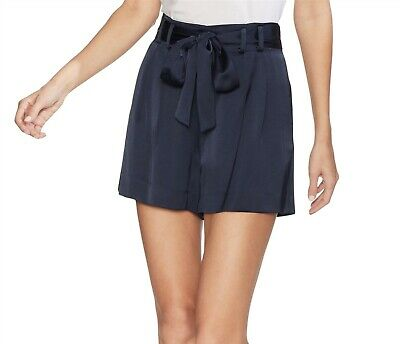 Vince Camuto 170343 Womens Soft Satin Paperbag Waist Belted Shorts Navy Size 6