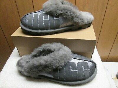 Ugg Coquette Sparkle Charcoal Suede Slippers Size Us 10 Nib