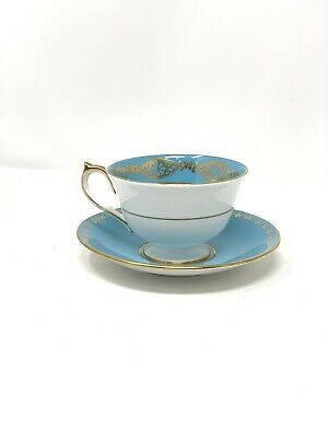 Vintage Aynsley Teacup And Saucer Blue Gold