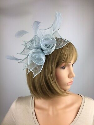 Pale Blue Baby Blue Light Blue Fascinator Clip Wedding Occasion Hatinator Races