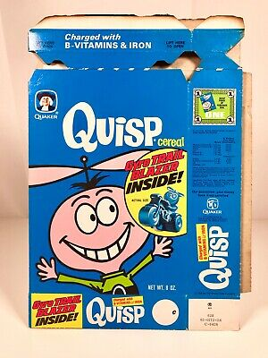 Vintage 1970s Quaker Quisp Cereal Box Kids Food Packaging Advertising Jay Ward