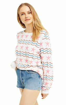 Wildfox Couture Womens Sea Stripes Vintage Lace Baggy Beach Jumper White
