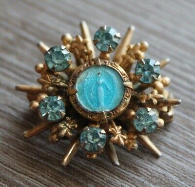 Vintage gold plated figural religious Mother Mary blue enamel brooch pin