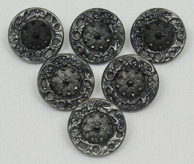 Antique Victorian Buttons~ Stylized Floral~ Blk Glass Center in Metal~ Lot of 6