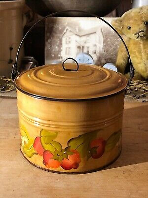 "Antique Vintage ""Kandy"" TOLEWARE Hand Painted Tin LUNCH PAIL BERRY BUCKET"