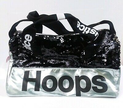 "Justice Girls Hoops Flip Sequin Full Size Basketball Duffel Bag 17""x10.5""x8.5"""