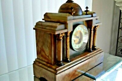 Antique Vintage Art Deco Marble Mantel Clock Circa 1930 With Key Weighs 30 Lbs.