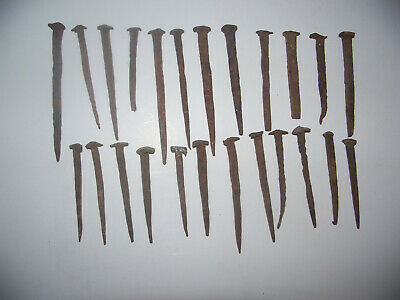 Antique Hand Forged Wrought Iron 18-19th Century Rose Head Nails - 24 Count
