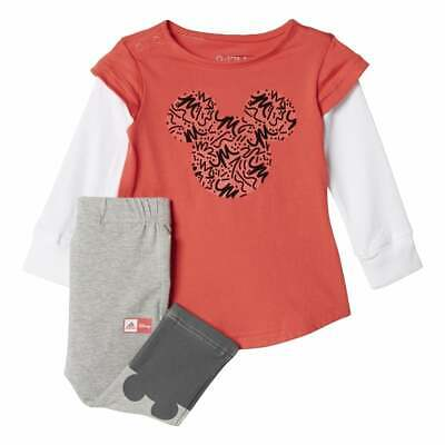 Adidas Infant Girl Disney Mickey Mouse Play Set Outfit Gift Pink/Grey/White new