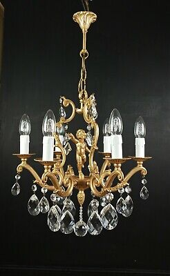 Gorgeous Antique French 6 Arm Bronze Gilded Cherub Crystal Chandelier Light