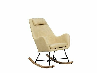 Modern Retro Rocking Chair Comfortable Padded Armchair Wooden Skates Blue Oxie