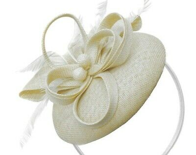Ivory Cream Fascinator Wedding Hatinator Mother Bride Ascot Races Pill