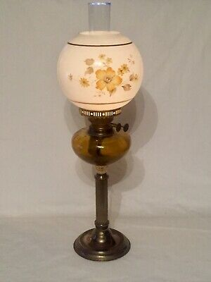 Vintage Victorian Twin Duplex Burner Brass Oil Lamp With Glass Chimney And Shade