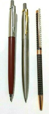 3 X Parker Style Ballpoint Pen Stainless With Stylish Designs and Blue Ink