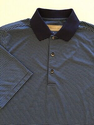 Donald Ross Mens Short Sleeve Polo Shirt Blue Striped Size Small