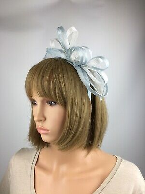 Pale Blue and White Light Blue and White Fascinator wedding Occasion Ascot Races