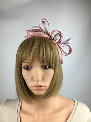 Blush Pale Pink and Grey Fascinator Wedding Occasion Mother Of The Bride Races