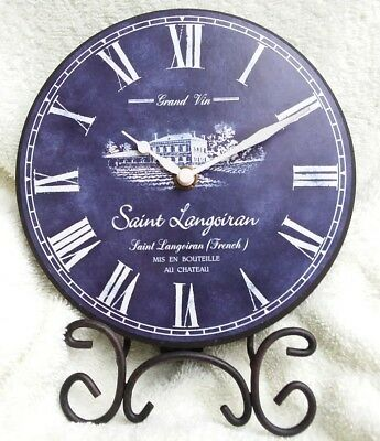 Stunning French Chateau Vin Wine Saint Langoiran Blue Mantel Clock Tested 6 1/2""