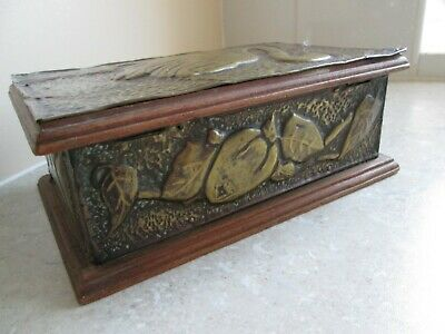 Ats & Crafts  Box - Hammered Brass Detail - Trench Art ??  C.1900