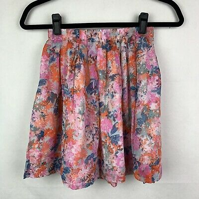 J.Crew Crewcuts Girls Floral Skirt size 12 Lined Elastic Waist