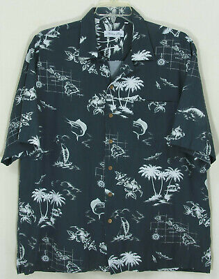 Milano Bay Mens Hawaiian Islands Big Game Fish Print Shirt XL(See Sizing Below)