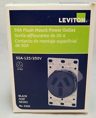 LEVITON Black FLUSH Mount Receptacle.  5206 50A-125/250V Power Outlet
