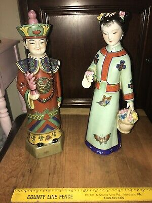 "14"" Vintage Asian Ceramic Chinese Emperor Chinoiserie & Elegant Lady Figure"