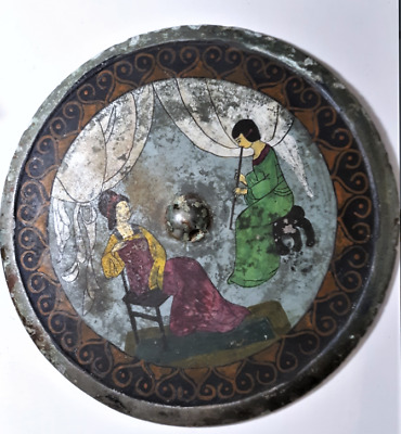 Rare Ancient Chinese Hand Painted Courting Scene Lg Tang Bronze Mirror 23.5 CM