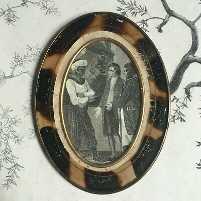 Antique Frame Brass and Glass Painted Engraving 19th - French 19thC