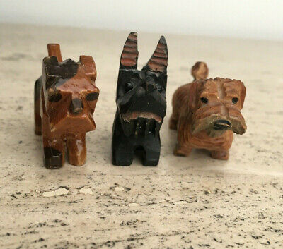 3 Dog  Dogs ANTIQUE FOLK ART Hand Carved MINIATURE Wood Figurine