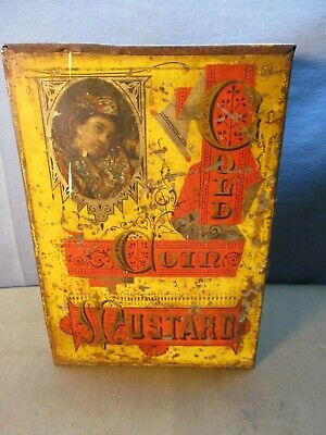 antique 1880s-1900 Gold Coin Mustard Tin store bin size