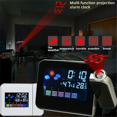 Alarm Clock Projection Digital Weather LCD Snooze Color Display Temp Backlight