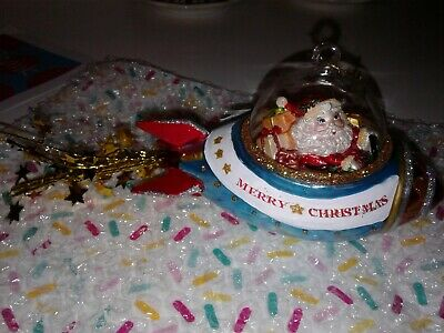 Christmas Handpainted Glass Santa Rocket Ship Ornament Spaceship Glitter & Stars