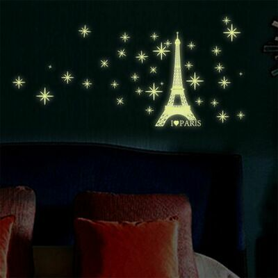 Romantic Eiffel Tower Vinyl Art Decal Glow in the Dark Room Wall Sticker Decor