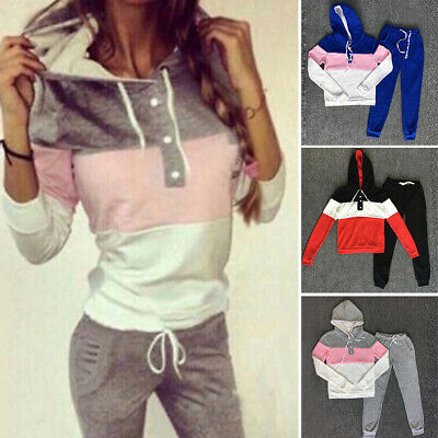 Women's Long Sleeve Hooded Tops+pants Sports Fitness Jogging Gym Tracksuit Set