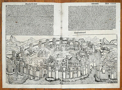 Incunable Leaf Schedel Liber Chronicorum Large View Constantinople Istanbul 1493