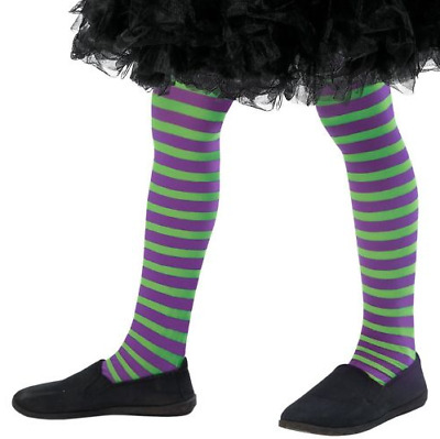 Kids Girls Wicked Witch Vampire Purple Striped Tights Fancy Dress Halloween New