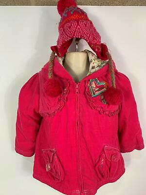 Girls Next Pink Padded Winter Hooded Rain Coat And Wooly Hat Kids Age 1.5/2 Year